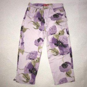 Gloria Vanderbilt purple floral capris size 14